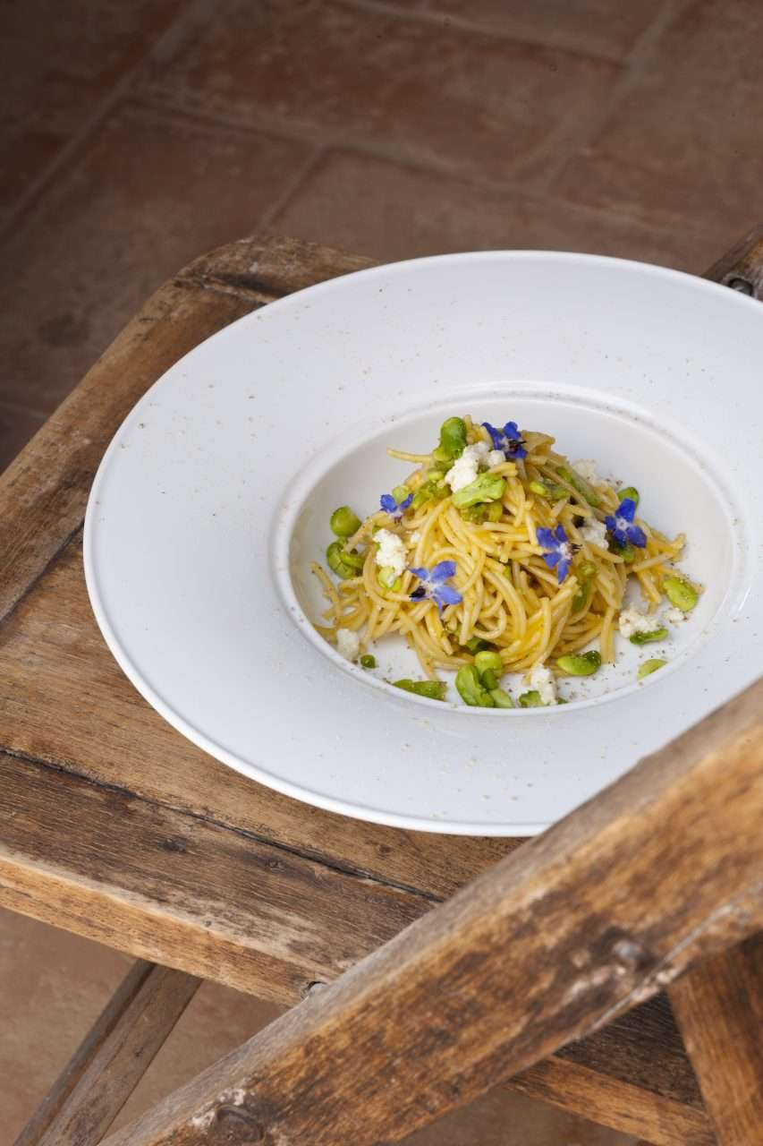 Hand made spaghetti withfava beanpepper ricotta and flowers